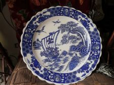 VINTAGE LARGE ORIENTAL CHARGER BLUE & WHITE CRANES TURTLE SHIP PEACOCKS 16.5""